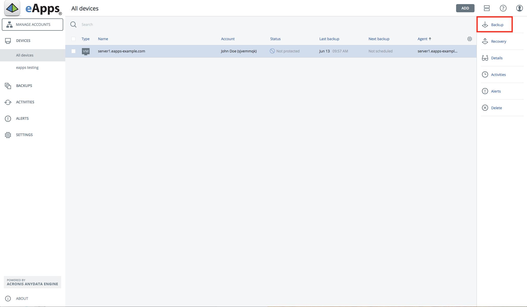Acronis Backup Screen