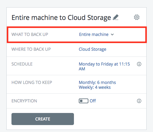 Acronis What to Backup