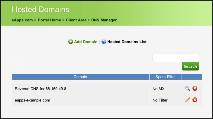 Client Area - DNS Manager