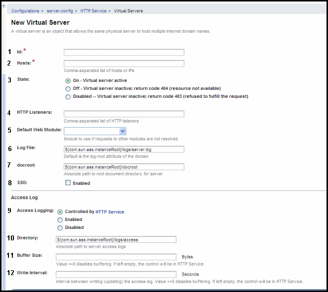 GlassFish v3 New Virtual Server