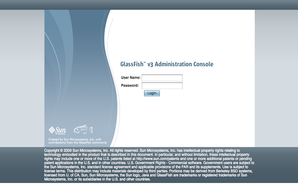 GlassFish v3 Admin Login Screen