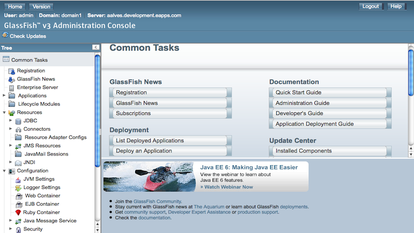 GlassFish v3 Admin Main Screen