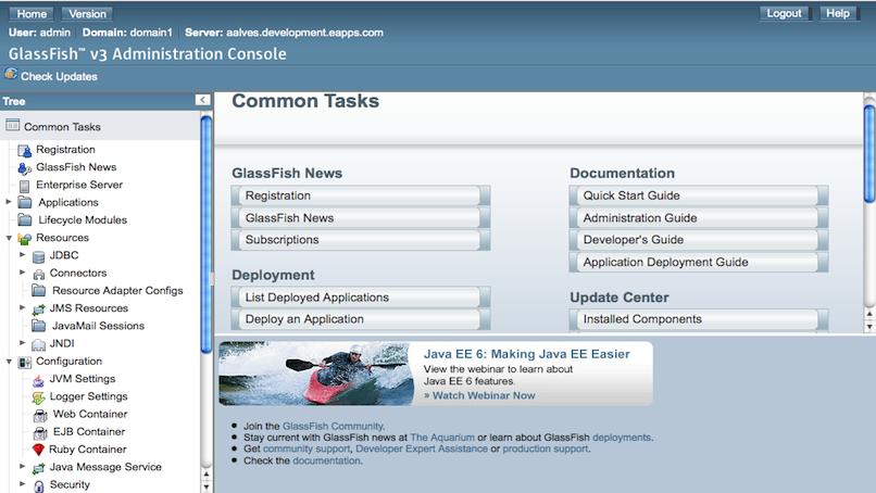 GlassFish v3 Admin Main Screen