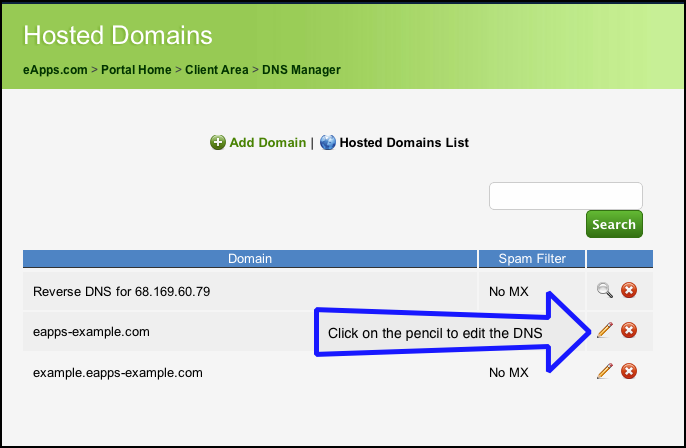 DNS - edit domain