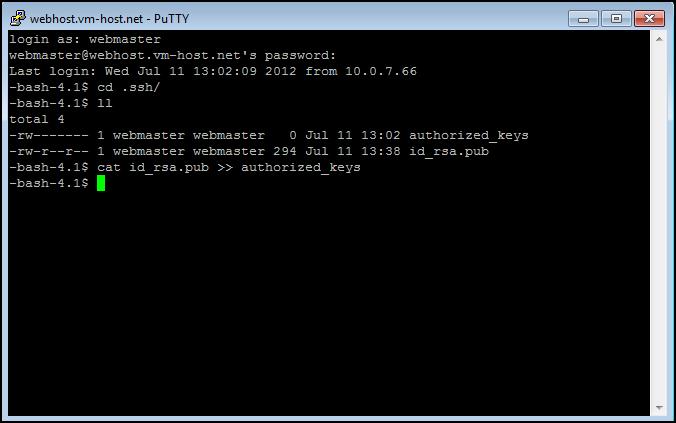 PuTTY - cat file