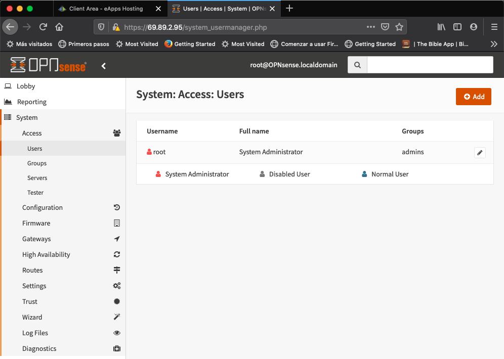 OPNSense User Section