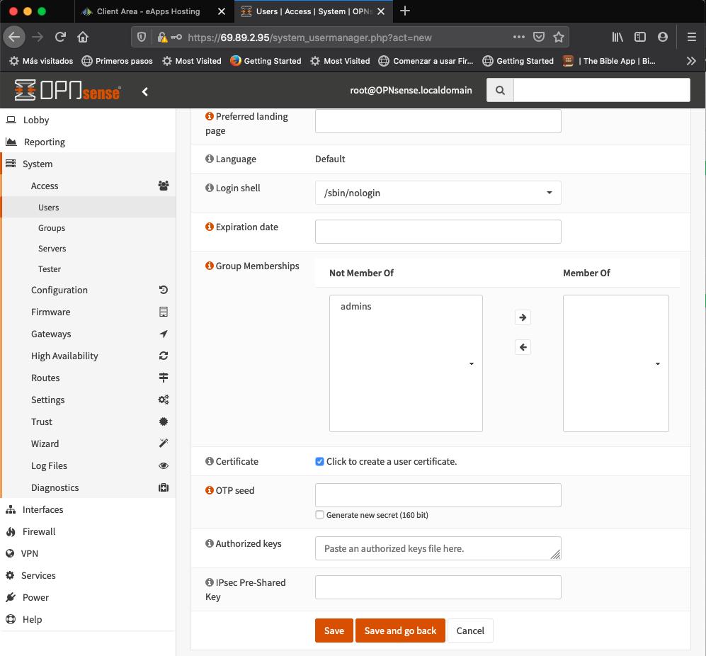 OPNSense Create Certificate Option