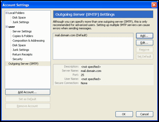 how to change outgoing mail server thunderbird
